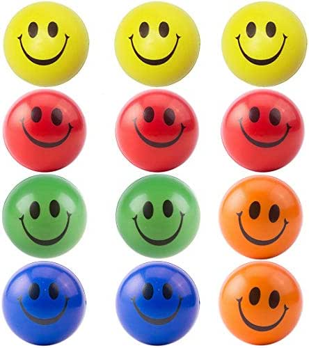simuer Anti Stress Balls x 12 , Kid's Toy Happy Ball Stress Relief Ball Smiley Squeezers Hand Exercise Stress Balls Perfect for Relieving Stress Anxiety(5 Colors)