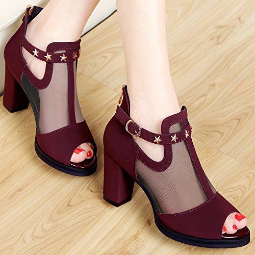 Pescado Mujer de Noche Alta A Hilados de Wine Chicas red Sandalias Net Zapatos HUAIHAIZ Señoras Shoes Heel Tacones de Boca EXppwq