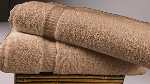 SALBAKOS Luxury Hotel & Spa Turkish Cotton 2-Piece Eco-Friendly Bath Sheet Set 35 x 70 Inch, Taupe - Taupe Hotel Spa Collection