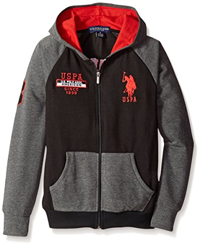 U.S. Polo Assn. Big Boys' Solid and Marled French Terry Hooded Jacket, Black, 18 (Terry Embroidered Jacket)