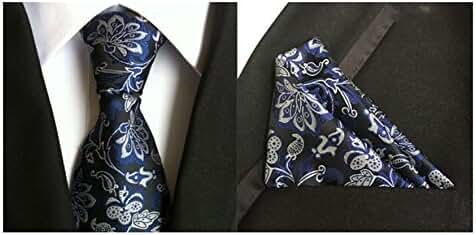 MENDENG Men's Blue Black Silver Paisley Silk Tie Wedding Necktie Hanky 2 Pcs Set