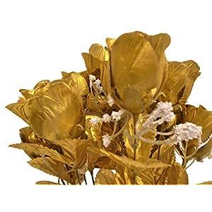 """Phoenix Silk Rose Buds Bush 14 Artificial Flowers 19"""" Bouquet 265 Gold 1"""