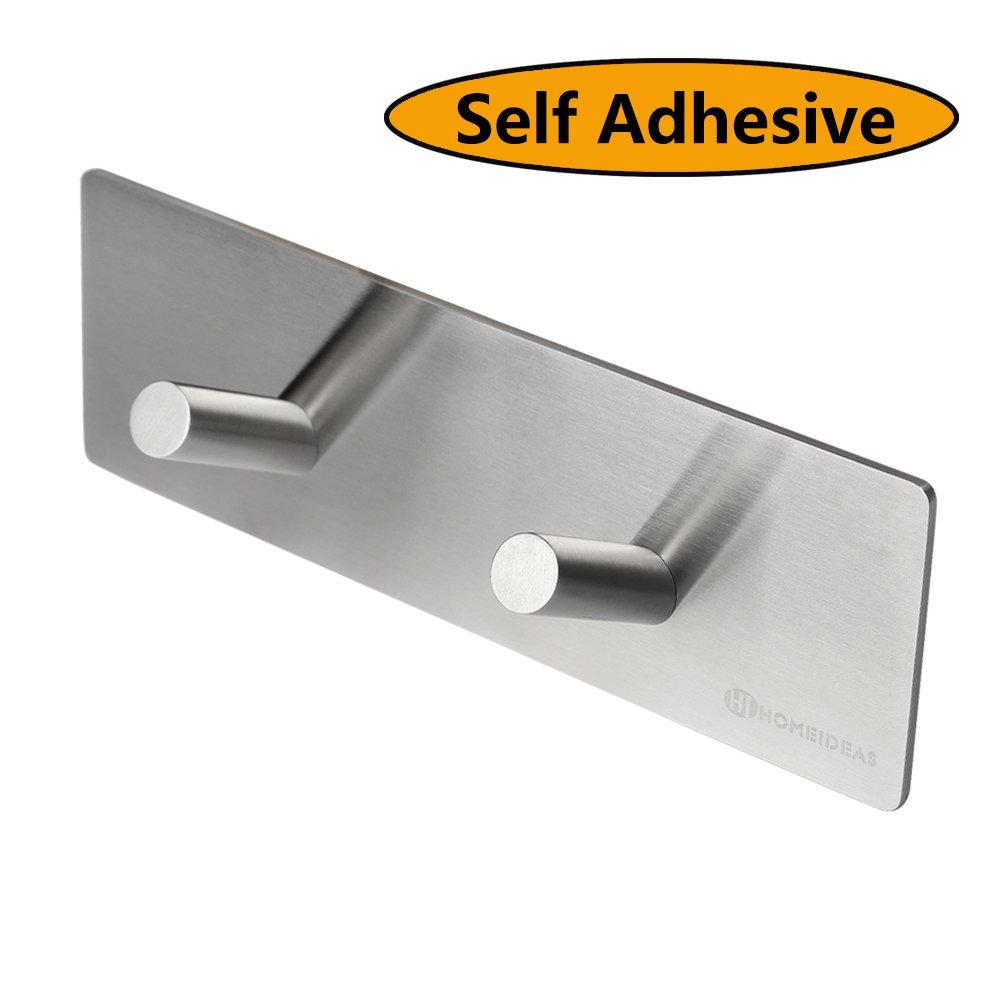 HOMEIDEAS SUS304 Stainless Steel Double 3M Self Adhesive Hook Key Rack Bathroom Lavatory Self Adhesive Coat Hook,Brushed Finish