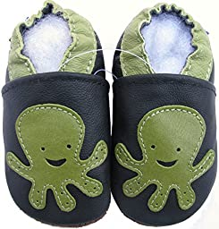 Carozoo baby boy soft sole leather infant toddler kids shoes Octopus Black 5-6y