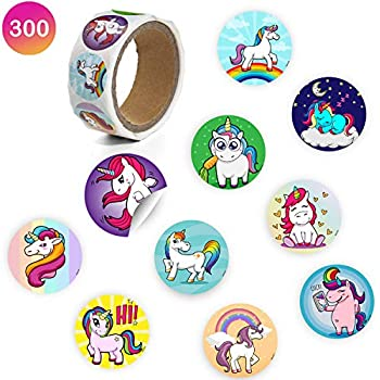 Favonir Unicorn Stationery Roll Stickers - 300 Count 10 Creative Assorted Designs - 1.5 Inch Round Labels - Ideal As Birthday Party Favor Decoration, School And Home Reward Prizes, Carnival And Events