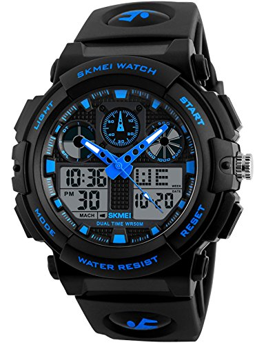 Chronograph Alarm Black Watch (Men's Black Blue LED Waterproof Sport Army Alarm Date Analog Digital Black Wrist Watch)