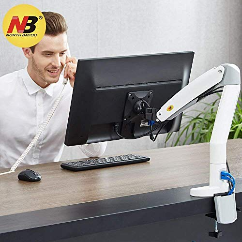 NB North Bayou Monitor Desk Mount Stand Full Motion Swivel Monitor Arm Gas Spring for 22''-35'' Computer Monitor from 6.6 to 19.8lbs(White) ()