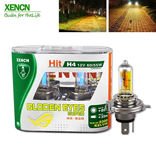 HITSAN INCORPORATION XENCN H4 12V 60/55W P43t 2300K Golden Eyes Super Yellow More Bright Light Halogen Car Bulbs Headlights 2pcs