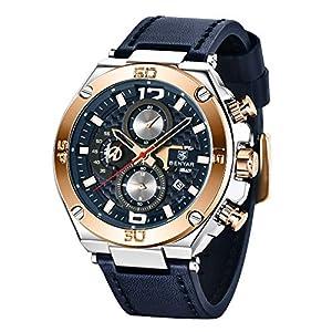 Montres Hommes BY BENYAR Chronographe Date Étanche Design élégant Bracelet Analogique Quartz en Cuir Montres Bracelet…