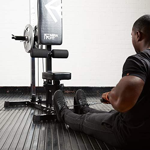 Máquina de gimnasio MiraFit, con sistema de poleas y barra de dominadas para ejercicios para la espalda, brazos y abdominales