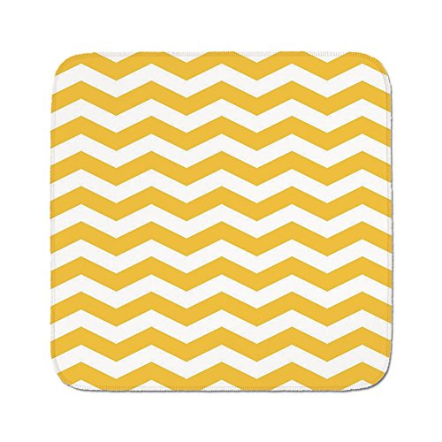 Cozy Seat Protector Pads Cushion Area Rug,Yellow Chevron,Modern Summer Season Pattern Zigzag Tile Design Wavy Horizontal Motif Decorative,Yellow and White,Easy to Use on Any Surface (Wavy Motif)