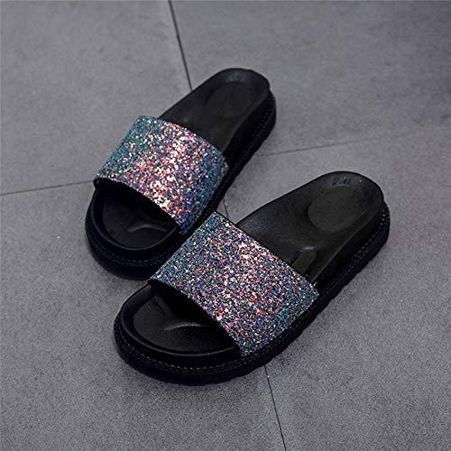 Image Unavailable. Image not available for. Color  Summer Women s Slippers  PU Bling Slides Flat Soft Bottom Sandals Home Flip Flops ... 80b73af9b07b
