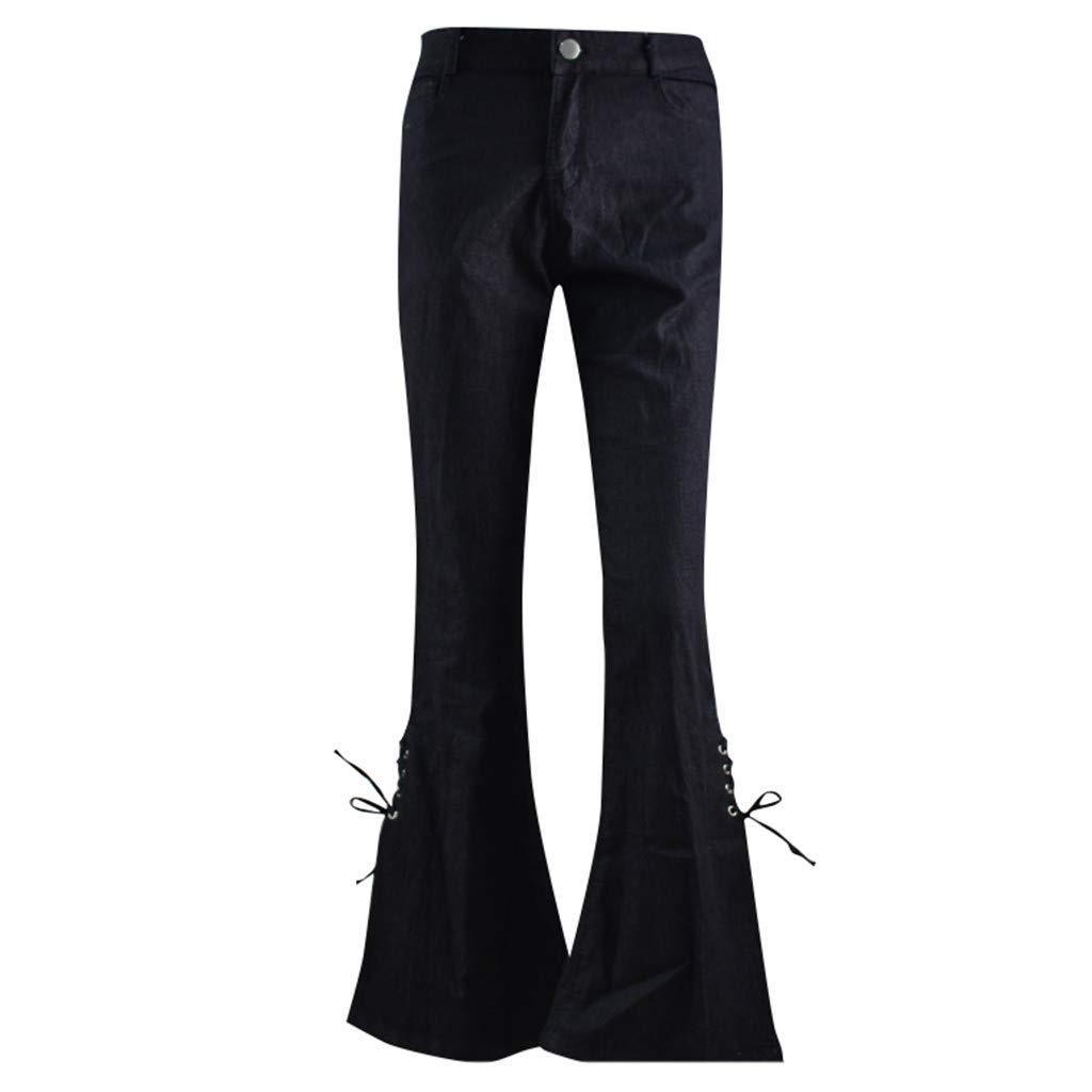 XS-4XL Ladies Retro Classic Flared Jeans,Women Girls Elastic Slim Fit Plus Size Side Bow Tie Denim Long Pants Trousers