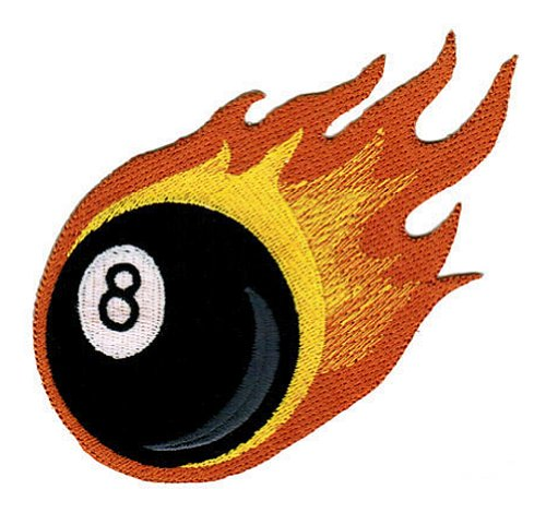 (Flaming 8-Ball Embroidered Patch Billiards Pool Iron-on Fire Eight Biker Emblem)
