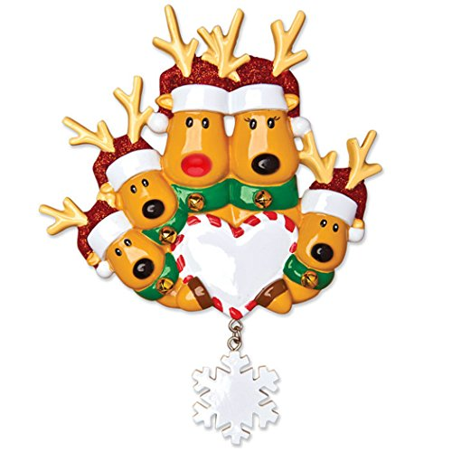 - Personalized Reindeer Family of 5 Christmas Tree Ornament 2019 - Mother Father Child Deer Santa Hat Hold Heart Snowflake Tradition Kid Nose Foster Gift Friend Forever Year - Free Customization