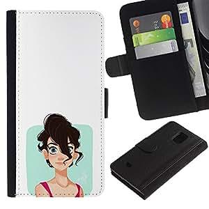 Protector de cuero de la PU de la cubierta del estilo de la carpeta del tirón BY RAYDREAMMM - Samsung Galaxy S5 Mini, SM-G800 - Chica emo