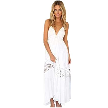 3acb7b96f6 Amazon.com: AmyDong Women's Bohemian Dress, Women Maxi Boho Summer Evening  Party Beach Dress Long Sundress (XL, White): Garden & Outdoor