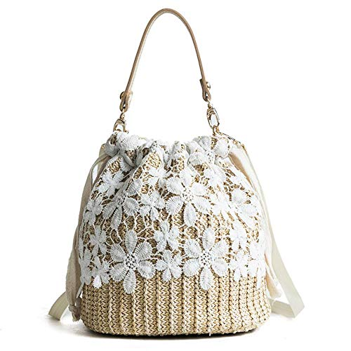 Sling Bag Beach Tote Handbags - Bamboo Handbag, IBELLA Beach Purse Bag Half Moon Bag,Straw Lace Woven Travel Sling Bag Shoulder Crossbody Bag for Women, Black, One Size