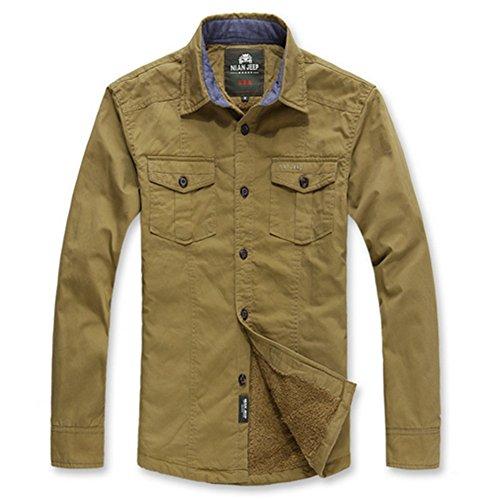 Wardrobe King Men's Casual Long Sleeve Shirt Jacket Keep Warm Coat