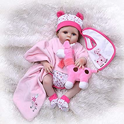 "23/"" Real Life Reborn Silicone Full Body Dolls Washable Newborn Baby Girl Dolls"