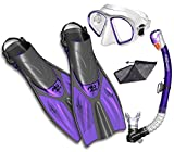 Snorkel Set Snorkeling Fins Snorkel Mask Combo Set, Purple, SM