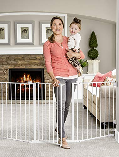 - Regalo 76 Inch Super Wide Configurable Baby Gate, 3-Panel, Includes Wall Mounts and Hardware