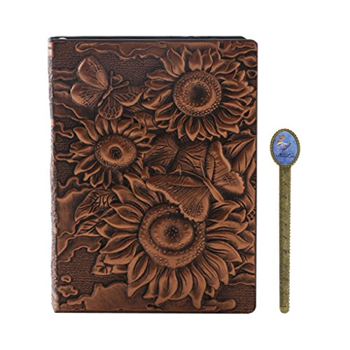 Retro Embossed Leather Notepad SunflowerHardcover Lined A...