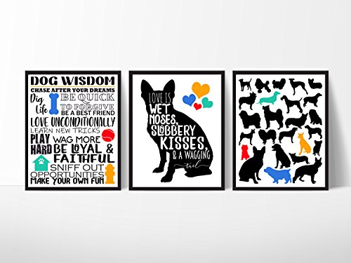 Silly Goose Gifts Dog Room Wall Art Decor (Set of Three) Decoration Print 8x10in Wet Noses Slobber Kisses (Bedrooms Themed Dog)