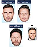 Mask Pack - Take That Set of 3 2D Official CARD Party Face Mask Pack - includes 6x4 inch (15cm x 10cm) Star Photo