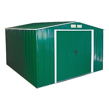 Duramax Caseta de almacenaje, Eco-Metal Revestimiento en los Bordes, 244 cm x 182 cm, Color Verde: Amazon.es: Jardín