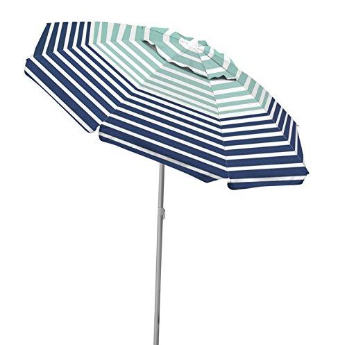 Stripe Beach Umbrella (Caribbean Joe CJ-TUVC78HS tilting beach umbrella double with canopy windproof design, Stripe, 6.5')