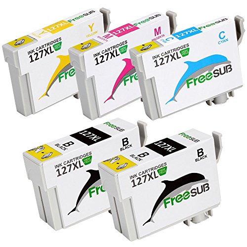 FreeSUB Replacement For Epson Ink 127 Extra High Yield Ink Cartridges 1Set+1Black 5 Pack Uesd for Epson Workforce 545 630 845 645 840 635 633 WF-3520 WF-3540 WF-7010 WF-7510 WF-7520 Printer