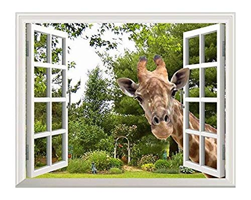 wall26 - Curious Giraffe Looking Through Window - Canvas Art Wall Decor -24
