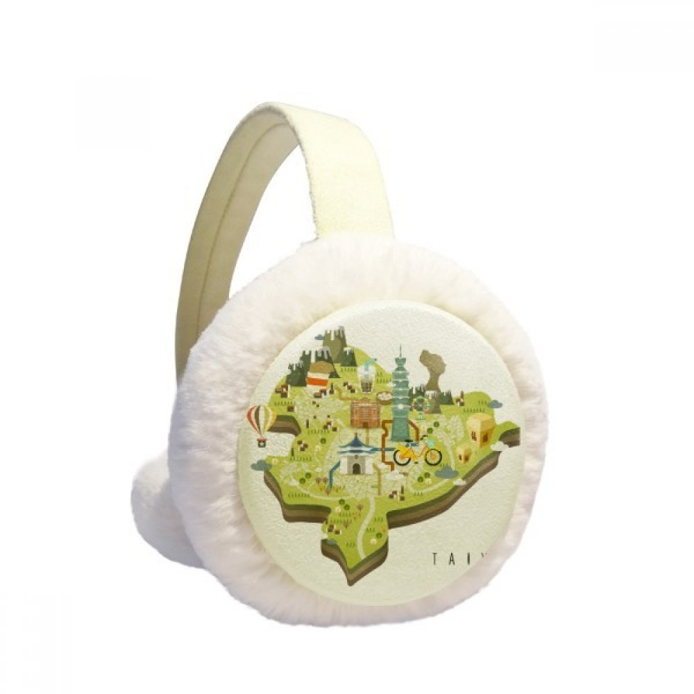 TaiPei Travel Map China Winter Earmuffs Ear Warmers Faux Fur Foldable Plush Outdoor Gift