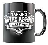 MMO Gaming Mug - Tanking Wife Aggro - Black 11oz Ceramic