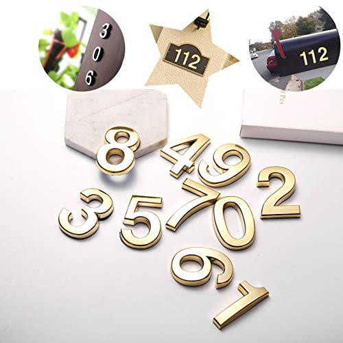 10 Pcs Door Numbers 0-9,House Address Number Stickers for Mailbox, Apartment Office Room,Golden Reflective, 2 inch High (2