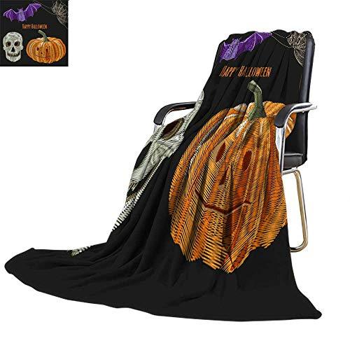 Lightweight Throw blanketnautical Throw blanketSet of Halloween Symbols Orange Pumpkin bat Skull Spiderweb Embroidery (Imitation Satin Stitches Style) Collection for d 52