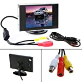 HDE Visual Reversing 3.5\' Rear View LCD Monitor for Car Back Up Camera Screen TFT Dashboard Mount