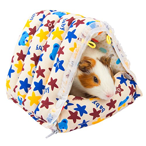 MEWTOGO 7 by 6.9 by 5.9 inches Hamster Bed Warm House for Small Animals- Bear