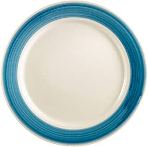 "Rainbow, Plate Rolled Edge Blue 6-1/2""Dia. X 1/2""H, Stoneware, Blue,Pack of 16"