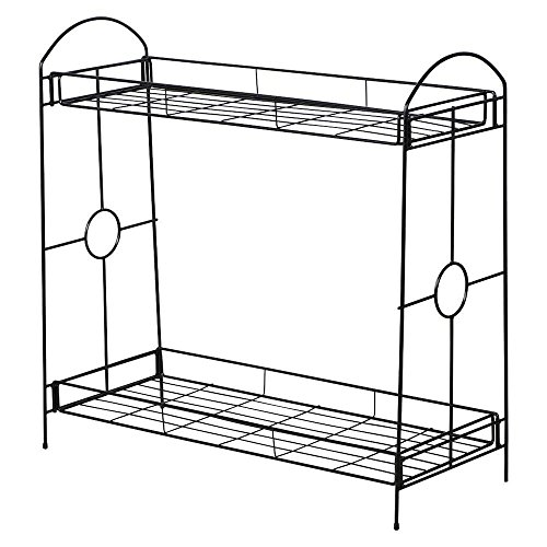 World Pride Iron 2-Tier Plant Stand, 32-Inch Height, Black
