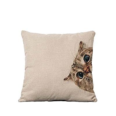 YOUR SMILE Cotton Linen Square Decorative Throw Pillow Case Cushion Cover 18x18 Inch(44CM44CM)