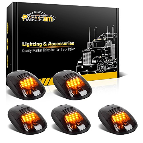 Partsam 5x Amber 12LED Cab Roof Top Marker Clearance Lights 264146BK Smoke Lens Replacement For 2003-2017 Dodge Ram 1500 2500 3500 4500 5500 Pickup Trucks