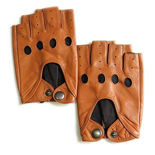 Button Fingerless Gloves - YISEVEN Men's Motorcycle Driving Fingerless Leather Gloves Lined Classic Soft Sheepskin Half Finger Button Punk Rock Cycling Fitness Touchscreen Warm Winter Dress,Congac 9.0