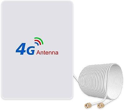 Antena 4G LTE 15dBi SMA conector (macho) Dual Mimo SMA antena booster con cable de 2 m para enrutador 4G LTE WiFi hotspots móviles Huawei B525, B715, ...