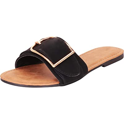 Cambridge Select Women's Open Toe Single Band Oversized Buckle Slip-On Flat Sandal | Slides
