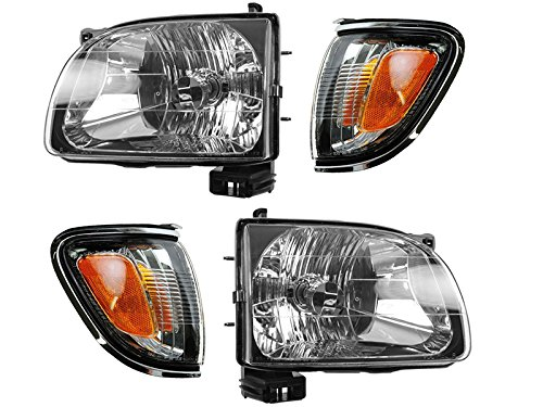 (Toyota Tacoma 01 - 04 Head Light With Chrome Trim Corner Light Combination Set)