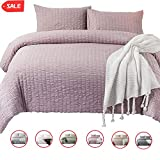 DuShow Pink Queen Duvet Cover Set Girls Solid Soft Seersucker Bedding Set Washed Cotton 3 Pieces Comforter Cover Set with Zipper Closure