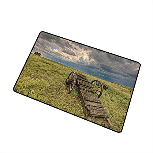 Barn Wood Wagon Wheel Pet Doormat Old Prairie Cart Agricultural Field Ranch Dramatic Stormy Sky Easy Clean Rugs 24