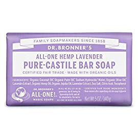 Dr. Bronner's Pure-Castile Bar Soap - Lavender 5oz. (Pack of 6) 103 LAVENDER. Scented with pure lavender and lavandin oils to calm the mind and soothe the body! Dr. Bronner's Lavender Bar Soap is made with certified fair trade ingredients and organic hemp oil for a soft, smooth lather that won't dry your skin GENTLE SOAP. This moisturizing bar soap offers organic and vegan ingredients for a rich, emollient lather. It is ideal for washing your body or face. With no synthetic detergents or preservatives, you can nourish your skin with every wash MULTI-USE. This multi-use bar soap can be used on its own as a traditional body or face scrub, or you can dilute it in various recipes for anything from a pest spray to laundry wash. This gentle, yet powerful soap is the ultimate multi-use cleaner
